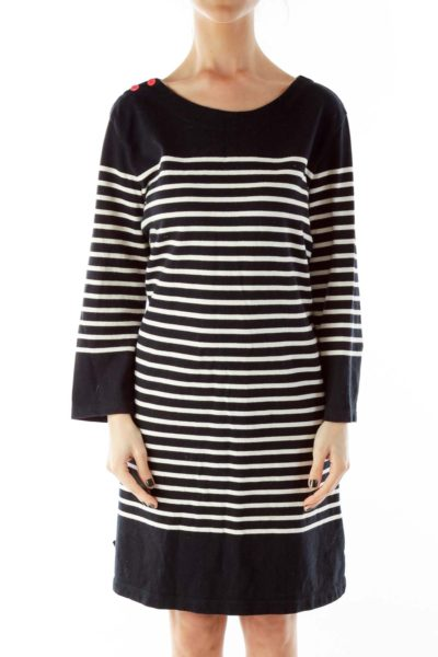 Striped Buttoned Long Sleeve Dress
