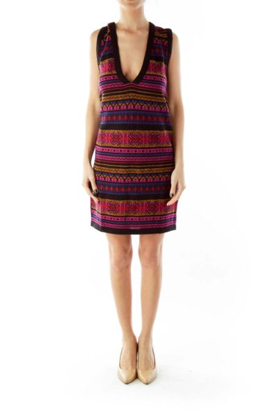 Stripe Print V-neck Dress
