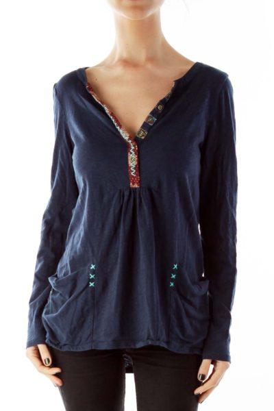Buttoned Print V-neck Tunic