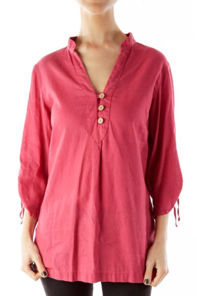 Pink Buttoned Woven Tunic