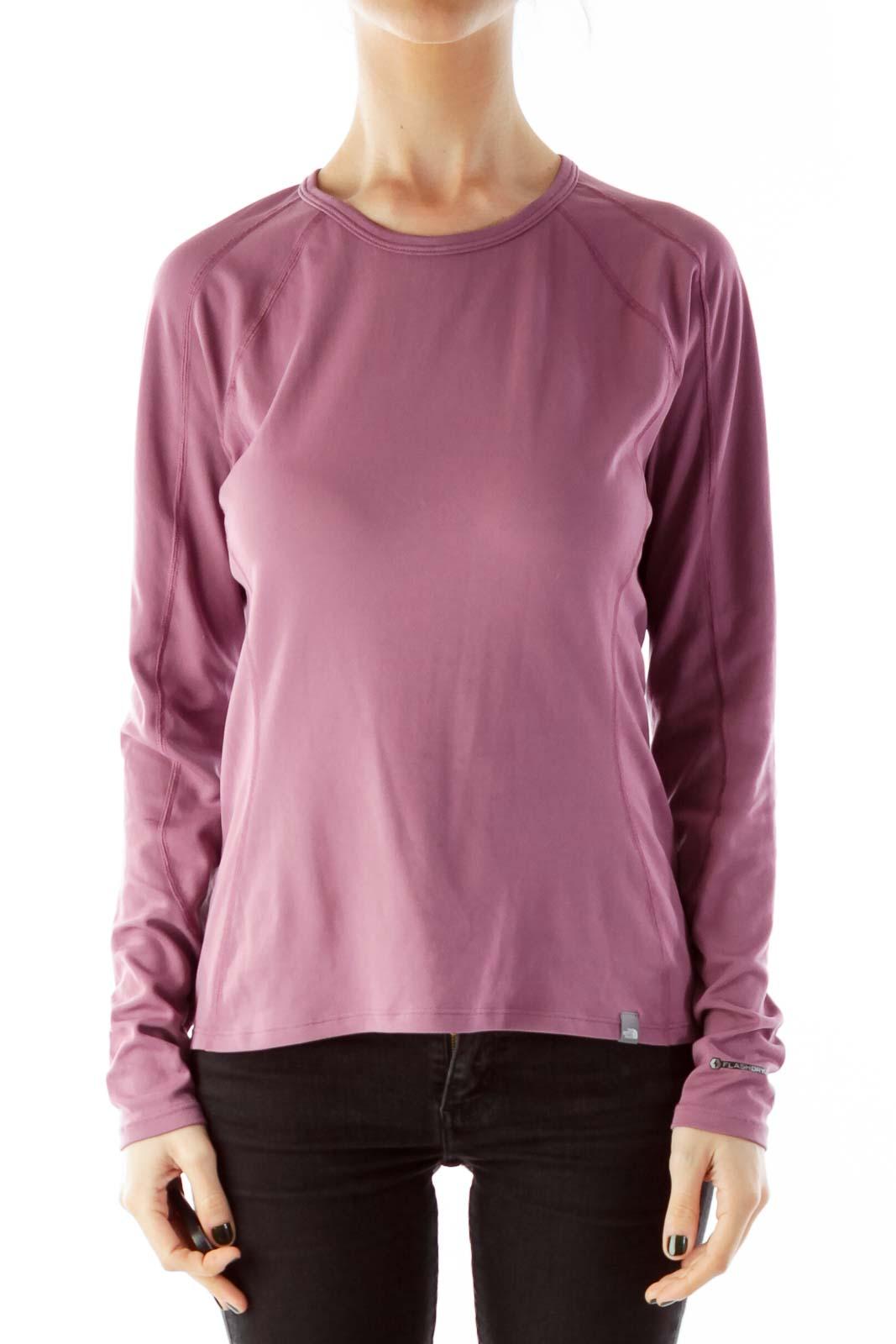 Purple Round Neck Elastic Athletic Top