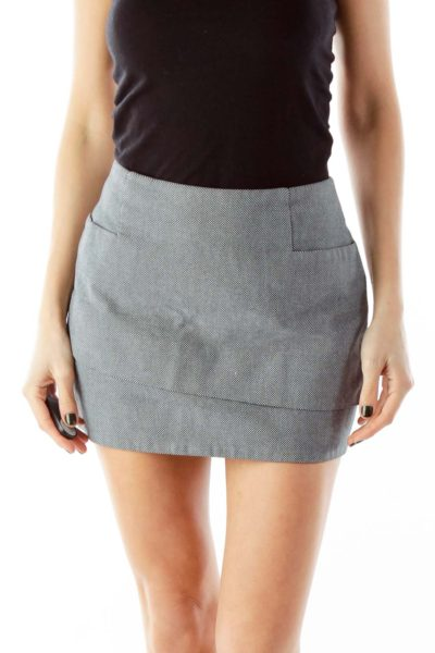 Gray and Black Polka Dot Layered Skirt