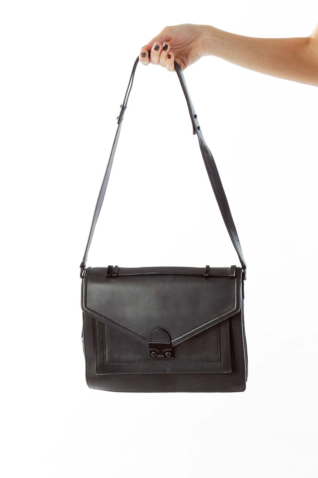 Black Belted Leather Messenger Bag