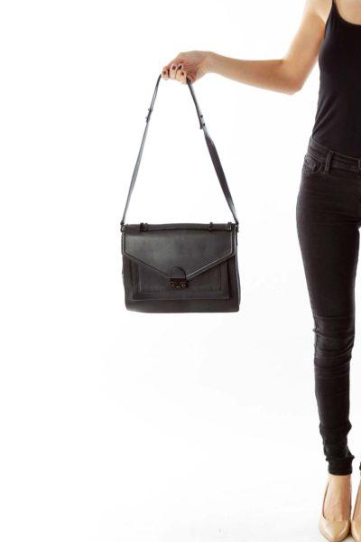 Black Belted Leather Messenger Bag