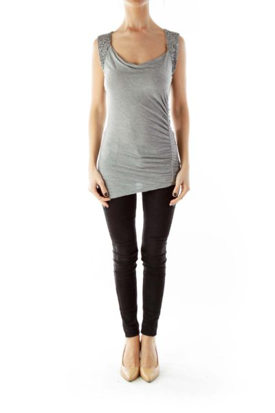 Gray Sequined Scrunched Cut-Out Tank Top
