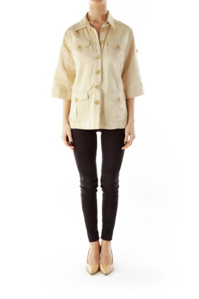 Beige Buttoned Pocketed Mid-Sleeve Fitted Jacket