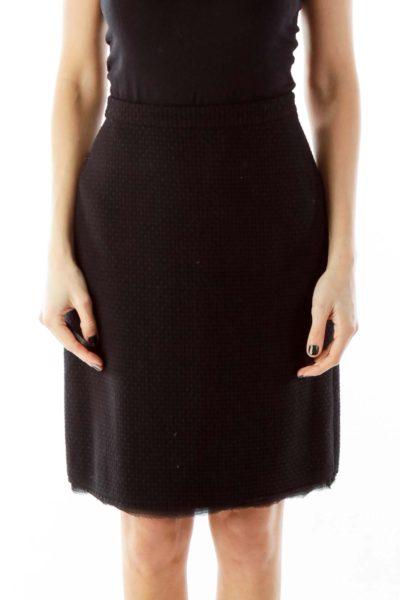 Black Fringe A-Line Skirt