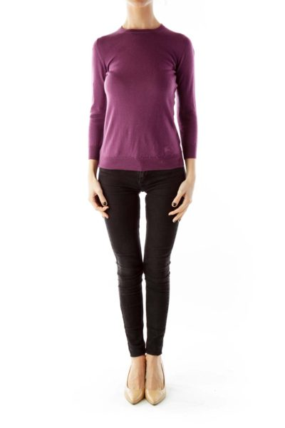 Purple Fitted Knit Top