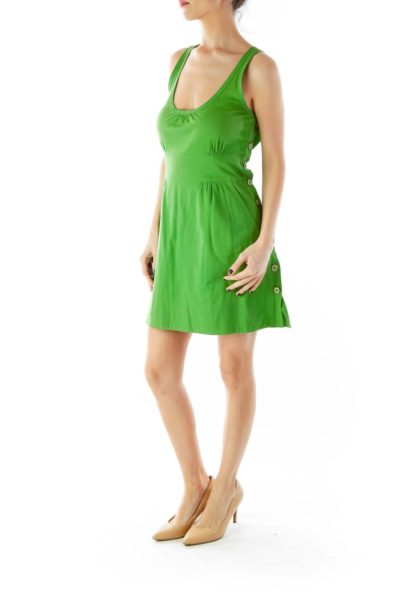 Green Buttoned Pocketed Round Neck Dress