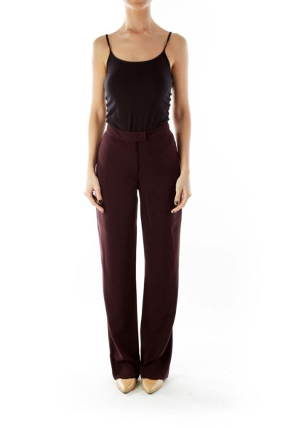 Purple High Waisted Suit Pants