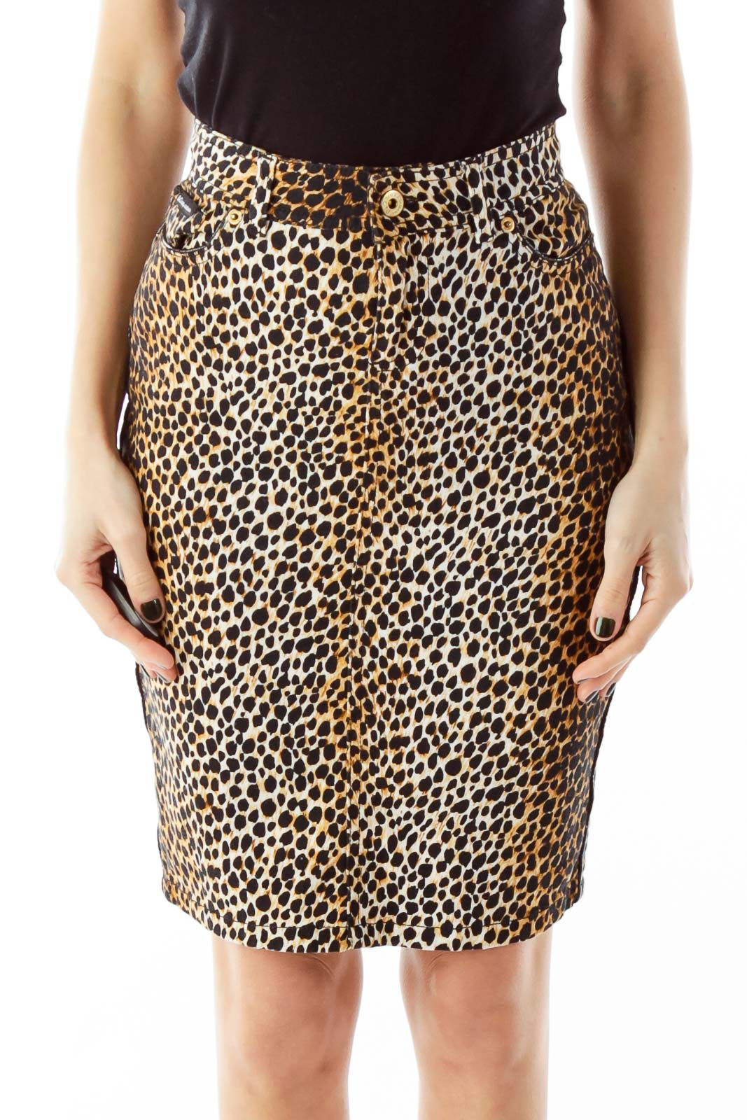 Black and Brown Leopard Print Pocketed Pencil Skirt