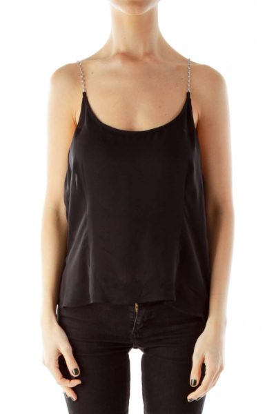 Black Beaded Spaghetti Strap Tank Top