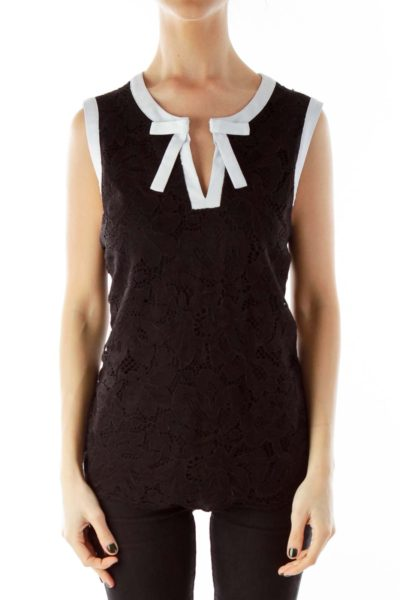 Black and White Lace Cut-Out Bow Tank Top