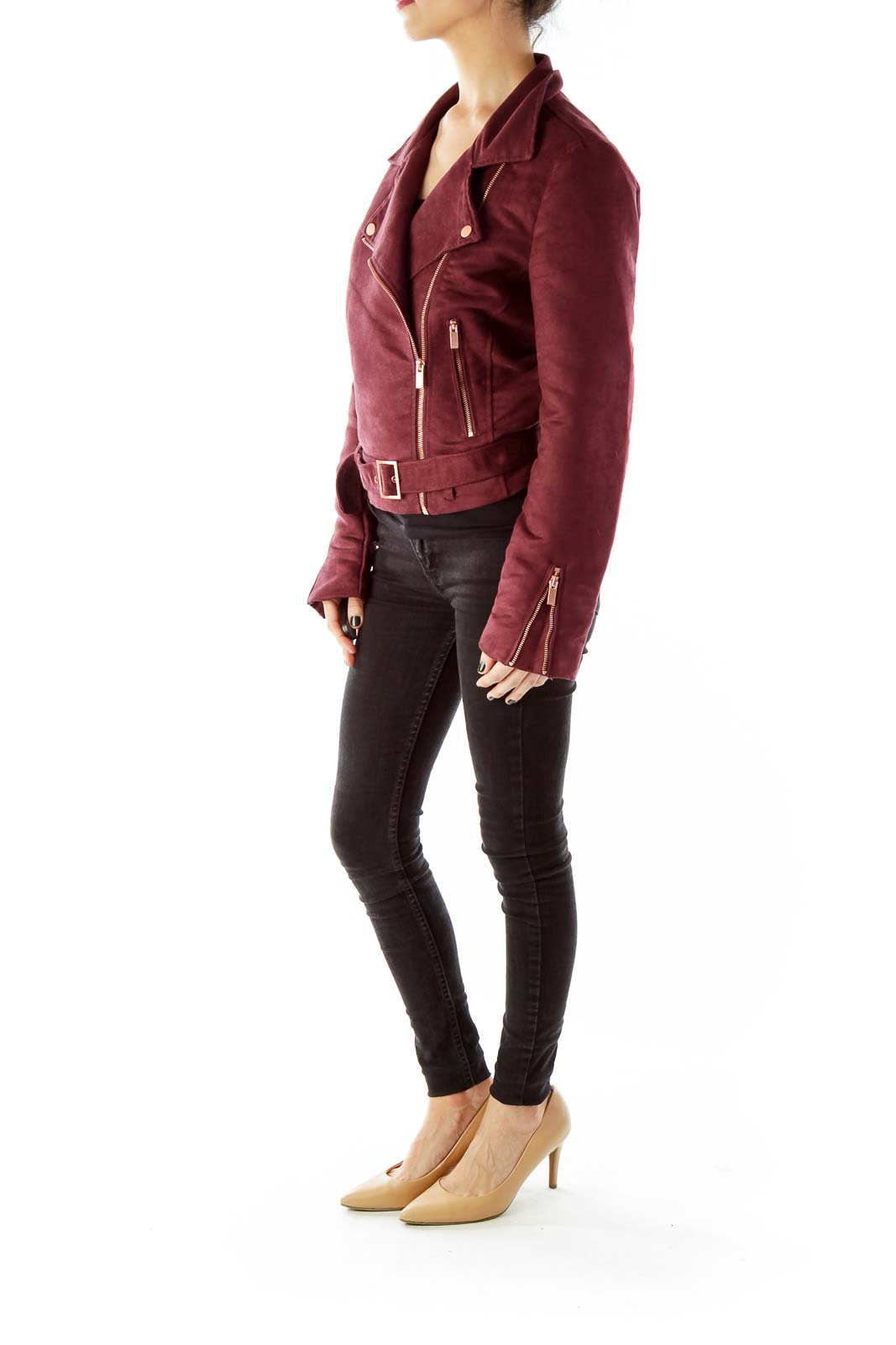 Purple Rose Gold Suede Belted Zippered Jacket