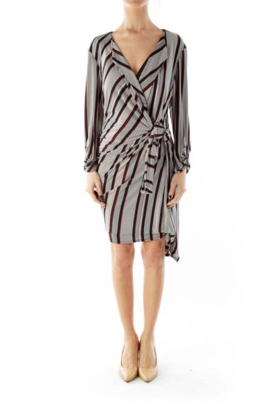 Multicolor Geometric Print Wrap Dress