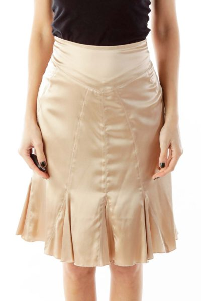 Champagne Flared Midi Skirt