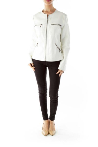 White Zippered Pocketed Faux-Leather Jacket
