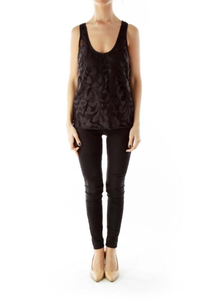 Black Layered Silk Lace Tank Top