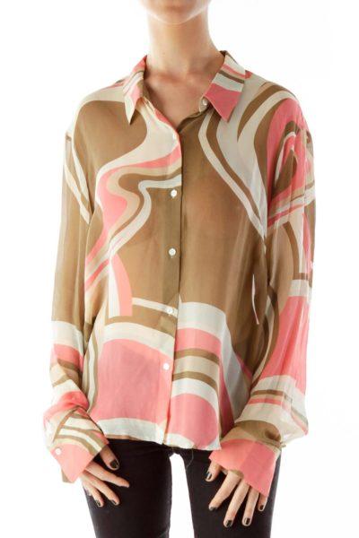 Multicolor Silk Print Blouse
