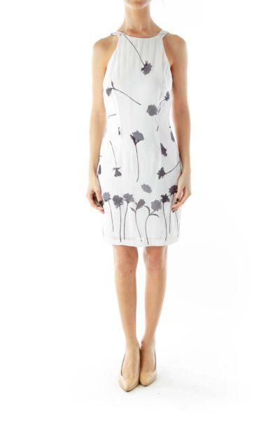 White Gray Flower Halter Dress