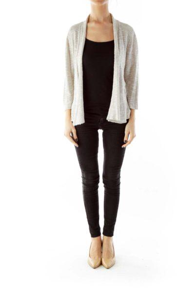 Beige Mid-Sleeve Linen Cardigan