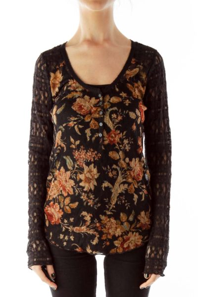 Black Multicolor Lace See-Through Flower Blouse