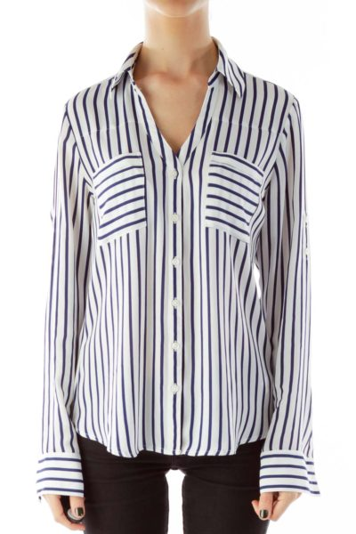 Blue White Stripped Button Down Shirt