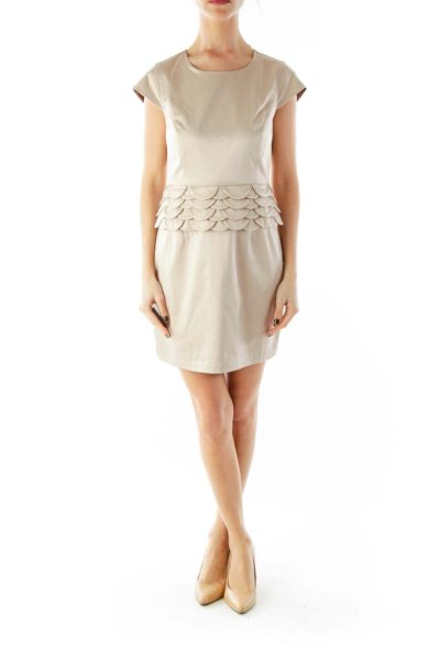 Beige Floral Sheath Dress
