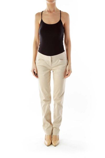 Beige Straight-Leg Pants