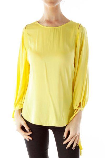 Yellow Polka-Dot Bow Silk Blouse