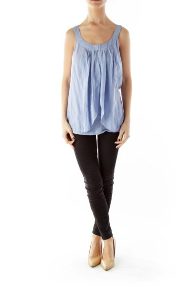 Blue Pleated Round-Neck Tank Top