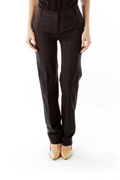 Black Stripped Straight-Leg Pants