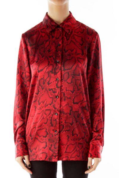 Red Black Snake Print Shirt