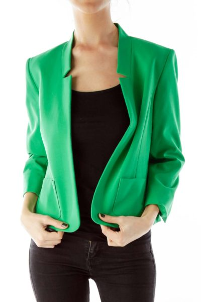 Green Open-Front Three Quarter Sleeve Jacket
