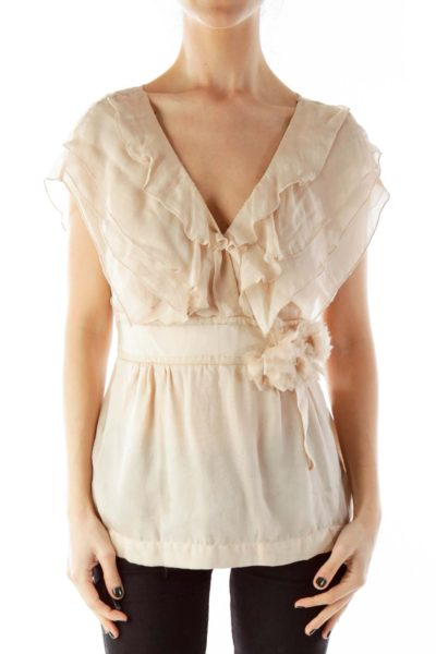 Nude Flower Belted Silk Blouse