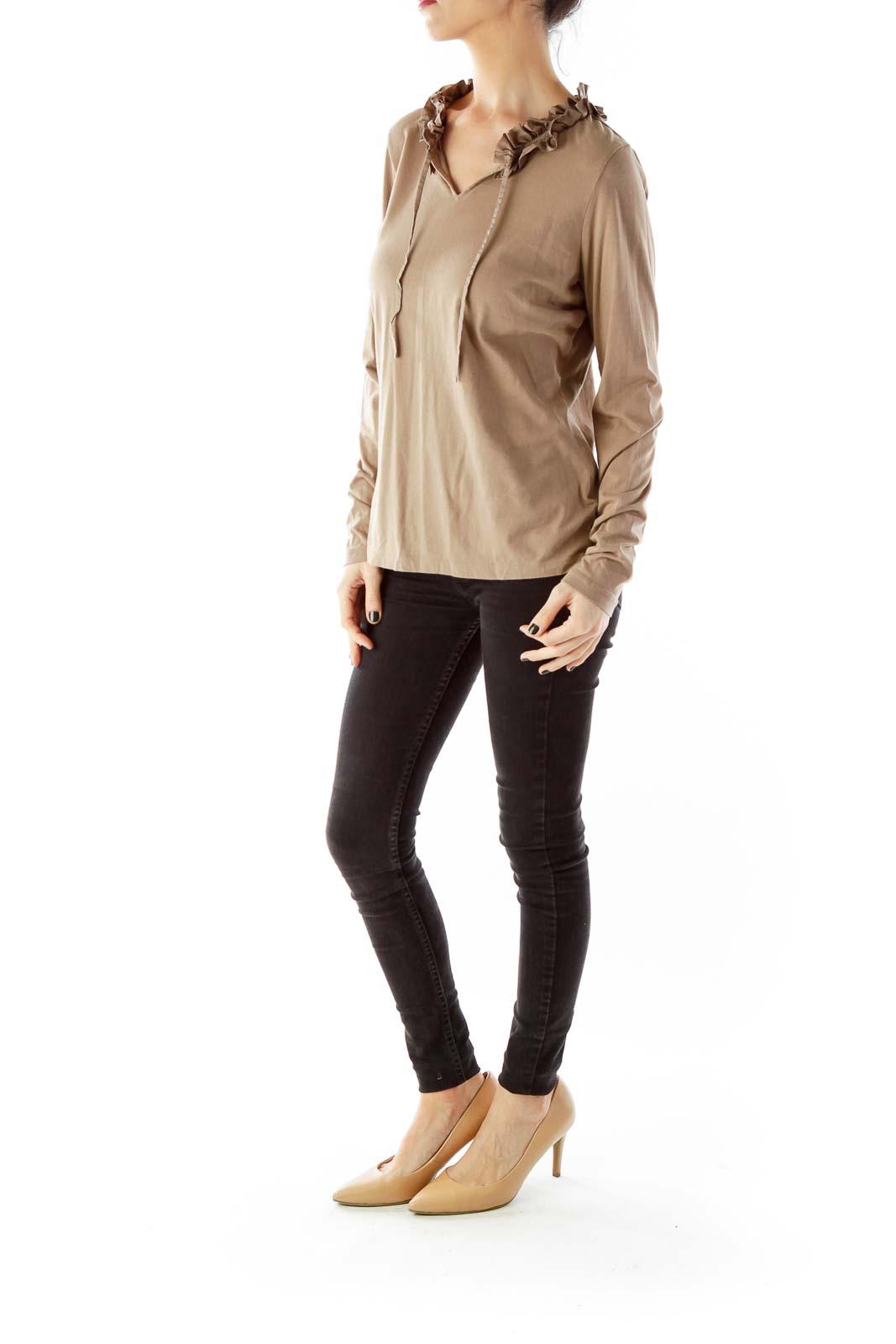 Brown Flower Long-Sleeve T-Shirt