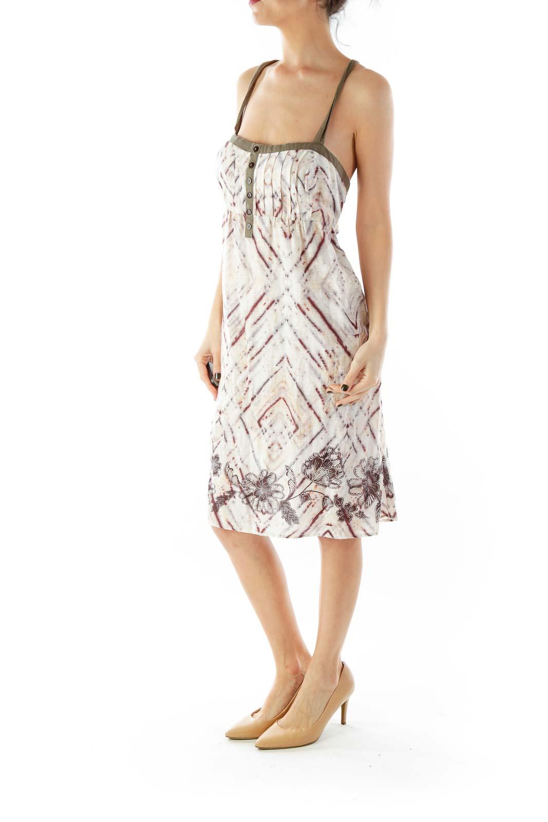 Multicolor Buttoned Flower Print Spaghetti Strap Jumper Dress
