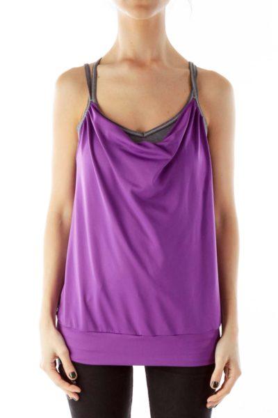Purple Yoga Top with Sports Bra