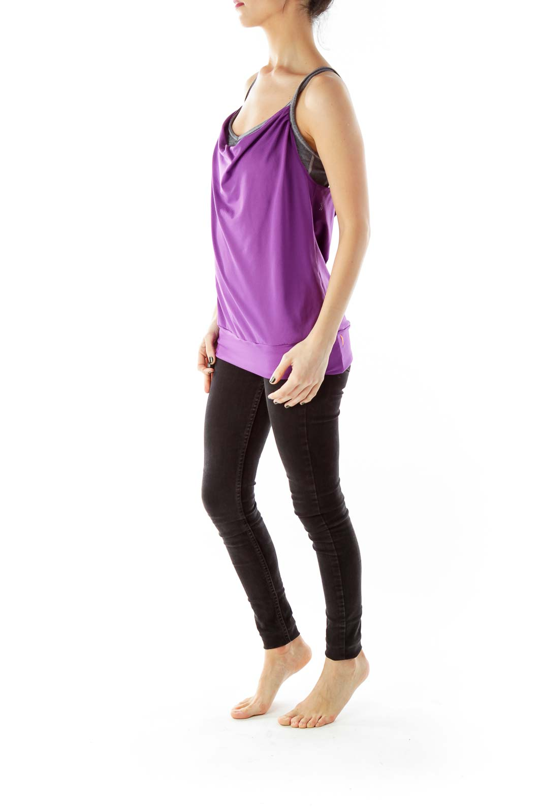 Purple Yoga Top with Sports Bra