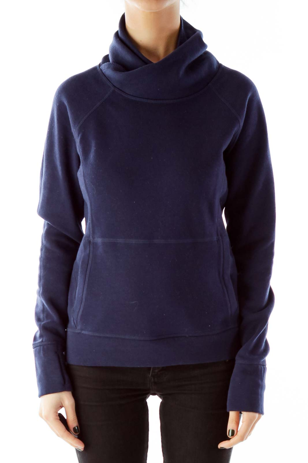 Navy Cowl-Neck Pocketed Sweatshirt