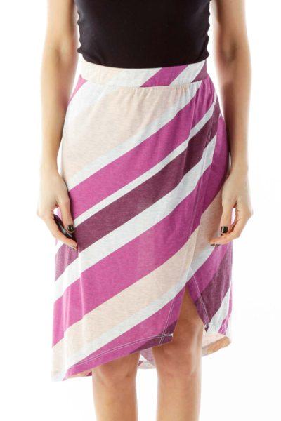 Purple Gray Peach Stripped Slitted Skirt
