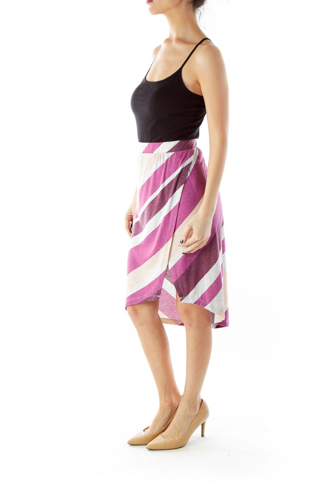 Purple Gray Peach Stripped Slitted Skirt