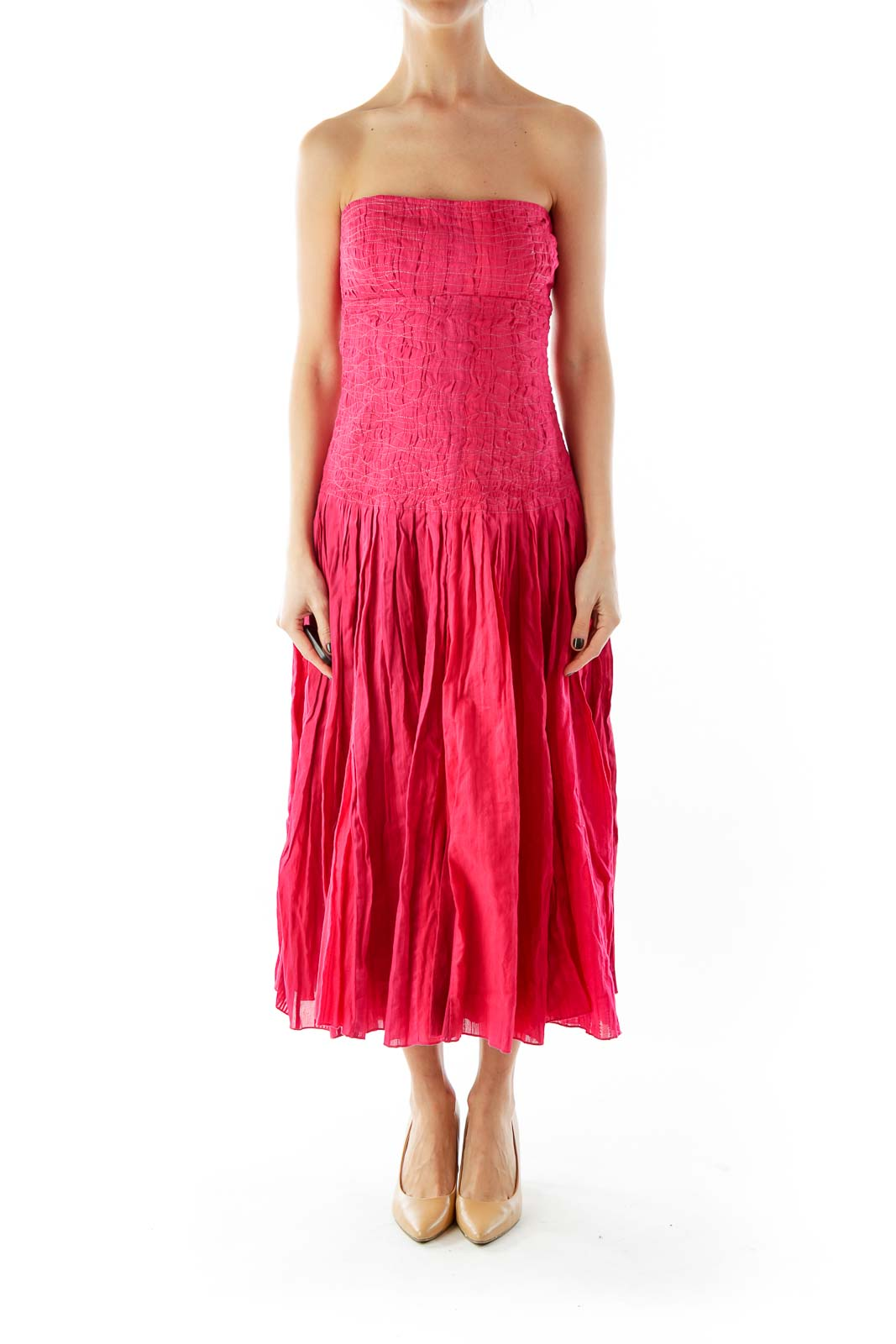 Red Strapless Textured Cocktail Dress