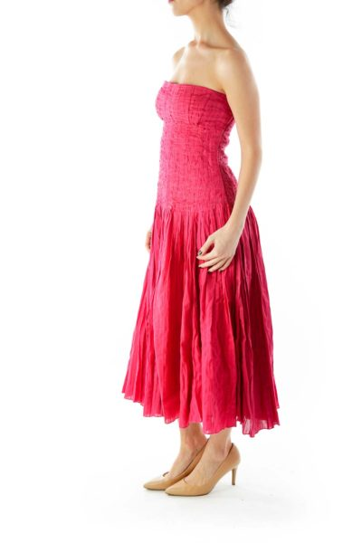 Red Strapless Textured Cocktail Dress