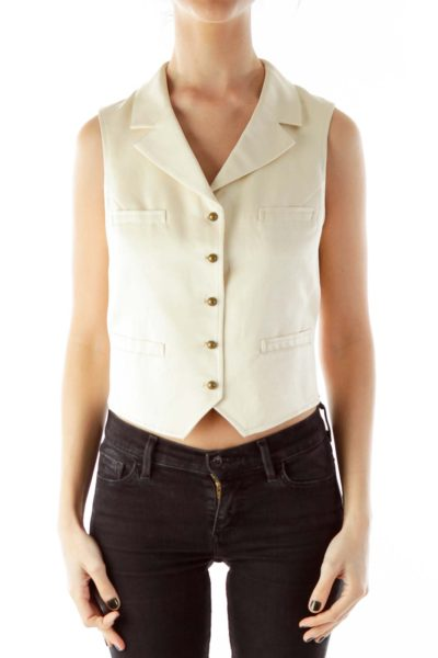 Beige Buttoned Silk Vest
