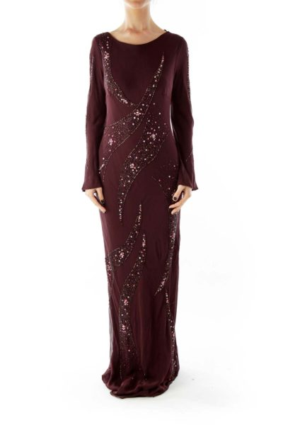 Purple Beaded Silk Gown with Boat Neckline