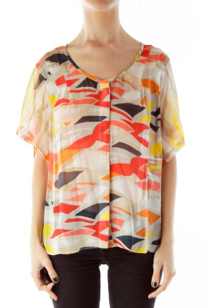 Multicolor Loose Round-Neck Blouse