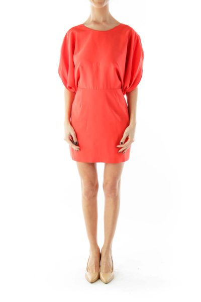 Orange Bat-Sleeve Day Dress