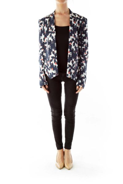 Navy Multicolor Geometric Print Silk Blazer