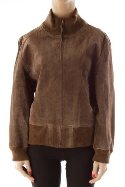 Brown Pocketed Bomber Jacket